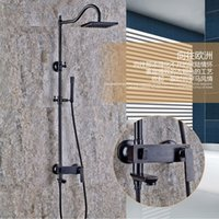 "Wholesale Rainfall Shower Set Hand - Wall Mounted Bathroom Shower Faucet Set 8"" Rainfall Shower Head With Hand Shower Black Finished Showers"
