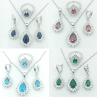 Wholesale Silver Red Ruby Diamond Ring - 2016 Hot sell Newest Sterling Silver 925 Jewelry Sets For Women Blue Green White Red Sapphire White Topaz Necklace Pendant Earrings Rings