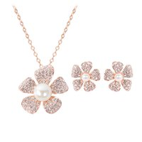 Wholesale Encrusted Necklace - hot sale quality new designer fashion elegant Pearl-encrusted plum flower diamond crystal pendant Necklace Earring 2 pcs jewelry set