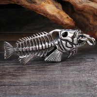 Wholesale bone style chain resale online - New Arrival Style Large Biker L Stainless Steel Casting Silver Fish Bone Design Pendant Necklace For Men s Cool Holiday Gifts