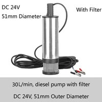 Wholesale Submersible Pressure Pump - Silver Diesel Submersible Transfer Pump 51mm outlet diameter 30L min flow 24V DC with battery clamp and stainless steel filter