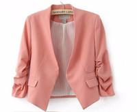 Wholesale Ladies Short Dresses Skinny - 2016 New Ladies Suits Blazer Women Candy Color Blazer Women Work Dress 3 4 Sleeve Pockets None Button Woman Slim Short Suit Jacket