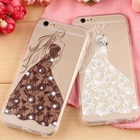 Wholesale Laces Case - the goddex of lace with man-made diomand tpu case For Phone 6 6S Thin TPU Phone Cases With Retail Package FK-C04