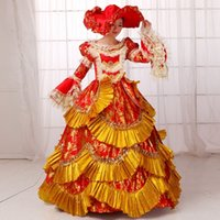 Wholesale Medieval Wine - Hot Sale 2016 Wine Long Sleeve Printed Medieval Renaissance costume 18th century Rococo Marie Antoinette Ball Gowns For Ladies