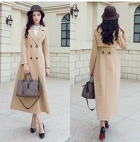Wholesale Cheap Womens Long Coats - Fashion Light Tan Womens Long Fall Coats For Women Slim Fit Wool Blend Ladies Jacket Warm Parka Double Breasted Long Sleeves Cheap Overcoat