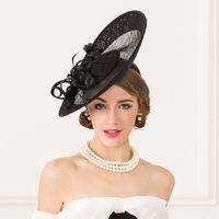 Wholesale Black Wedding Birdcage Veil - Occasion Hat Wedding Bridal Birdcage Veil With Black Black Feather Blusher Fascinator Black Tulle Hair Flower Hat In Stock