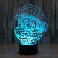 Wholesale Super Mario Wedding - 2017 Super Mario 3D Optical Night Light 9 LEDs Acrylic Light Panel DC 5V Factory Wholesale