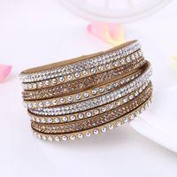 bracelets en cuir de tissu achat en gros de-Mélange de couleur Toute la vente multicouche cuir wrap bracelet bijoux pour les femmes cristal bracelets deisgn simple tissu de velours