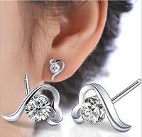 Wholesale Purple Heart Stud Earrings - Amethyst Crystal Stud Earrings Love Heart Purple White Swarovski Elements Ear Jewelry 30% 925 Sterling Silver Overlay Wedding Stud Earrings