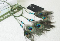 Wholesale Handcrafted Decor - Handcrafted Catcher Dream Indian Tradition Peacock Feather Dreamcatcher Home Decor Ornament Dream Catcher Wall Hanging B951L