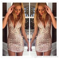 Wholesale Ladies Sexy Dresses V Neck - 2016 Free Shipping New Women Bling Sequin Sexy Dresses Bodycon Casual V-Neck Sleeveless Women Ladies Beach Dresses