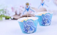 Wholesale Cup Cake Blue Decoration - 20pcs lot Cinderella Cake Plates Party Decorations Cupcake Wrappers Cup Cake Toppers Picks Wedding Birthday Supplies 2016 May Style
