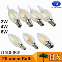 Wholesale E12 Frosted - Dimmable frosted led candle bulbs 2w 4w 6w e12 e14 e27 b22 led candle bulb AC85~265V Edison Filament LED Candle Bulbs CSA UL