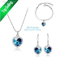 Wholesale Titanic Ring Set - Wholesale-2015 New Heart Of the Ocean Titanic Fashion Crystal Jewelry Set Decoration crystal necklace and earrings and rings Free Shipping