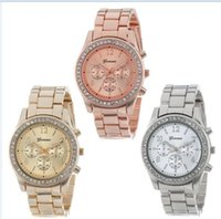 Wholesale Gold Plated Ladies Watches - Watch 2016 Faux Chronograph Quartz Plated Classic Round Ladies Women Crystals Watches