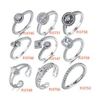 Wholesale Wholesale Simulated Diamond Jewelry - BELAWANG 9 Styles 925 Silver Clear Crystal Finger Ring with CZ Women Vintage Simulated Diamonds Rings Fashion Wedding Jewelry Christmas Gift
