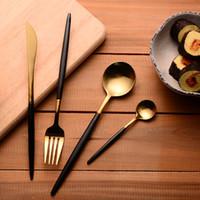 Wholesale Stainless Steel Flatware Cutlery - Wholesale-304 Stainless Steel Cutlery Gold Flatware Set Black Tableware Dinnerware 1 Dinner Knife + 1 Spoon + 1 Fork + 1 tea Spoon