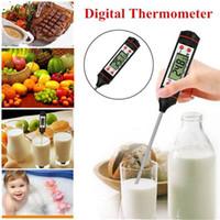 kalem termometreleri toptan satış-Beyaz Siyah Uygun Dijital Gıda Termometre Mutfak Laboratuvarı için LCD Ekran ile Fabrika Kalem Stil Mutfak BARBEKÜ Yemek Araçları