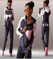 Wholesale Women Fleece Hooded Long Cardigan - 2017 new Sports Suit Jogging Suits For Women Letter vs Pink Print Sport Suit Hoodies Sweatshirt +Pant Jogging Sportswear Costume 2 piece Set