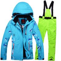 Wholesale Cream Suit Jacket - Wholesale-2016 Newest Skis Snowboard Jacket Suit Women More Colors Winter Snow Coat Set Female Size S-XXL Waterproof Thermal Jacket+Pants