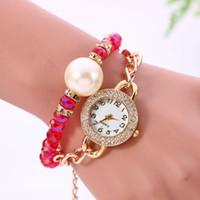 Wholesale Double Pearl Bracelets - Hot Sale Flowers Double Pearl Bracelet Watch & High Quality Electronic Wrist Watches & Women Watches 6 Colors