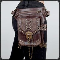 Wholesale Steampunk Bags - Personalized Steampunk Gothic female bag packet Messenger bag men and women travel mini bags waist leg cross shoulder bags
