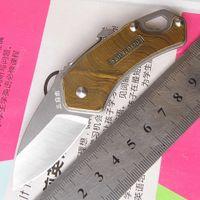 clips mini mosquetón al por mayor-Sanrenmu Mini 4077MUC-SRE 4Cr15mov cuchillo de supervivencia de acero inoxidable plegable con destornillador de clip de mosquetón