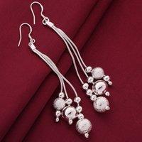Wholesale Girls Christmas Earrings - Ball Silver Earrings for Women Shining Balls Dropping Earring Female 925 Sterling Party Wedding Jewelry For Girls Christmas Gift ER-005