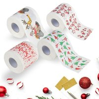 Wholesale Paper Bath - Santa Claus Printed Toilet Paper Merry Christmas Bath Toilet Roll Paper Tissue Living Room Table Decor 300pcs OOA3740