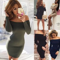Wholesale Cheap Acrylic Panels - Ultrashort mini Free Shipping Cheap Fashion Hot sale Tight sexy one word led off-the-shoulder thickening package buttocks dress