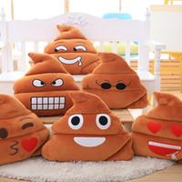 kissen puppe stoff großhandel-Heißer Verkauf Nette Emoji Kissen Plüschtier Puppe Weihnachtsgeschenk Für Mädchen Poop Smiley Emotion Weiche Dekorative Kissen Gefüllt