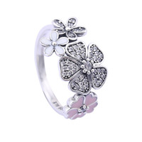 spring flowers wedding bouquet - 2016 Spring Silver Shimmering Bouquet Ring with Enamel Sterling Silver Flower Rings Compatible with Rings Fine Jewelry