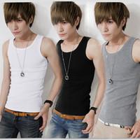 Wholesale Tank Top Gray For Boys - Designer Tank Tops For Men Boys Muscle Tank Top Summer 2014 Men's Male Slim Sleeveless O-neck T-shirt Male Basic Shirt Singlet