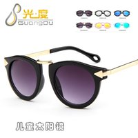 Wholesale Uv Beam - Wholesale-Korean fashion children's sunglasses boys and girls UV metal beam and arrow leg round frame lovely goggle quality assurance