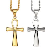gold cross necklace charm 2018 - Fashion Men Hip Hop Charm Cross Pendant Necklaces Jewelry Stainless Steel 18k Gold Plated Punk Rock Rap Filled Mens Long Chains 60cm