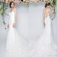 Wholesale Little White Dress Train - 2017 Little White Simple Mermaid Wedding Dresses V Neck Sheer Long Sleeves Appliques Sexy Backless Sweep Train Country Garden Bridal Gowns