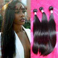 tissage droit péruvien en soie achat en gros de-Bella Hair®11A Bundle de cheveux vierges brésiliens les plus épais