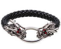 Wholesale Leather Dragon Bracelet - Hot fashion jewelry Men's European and American style red eye dragon bracelet personalized alloy woven leather jewelry