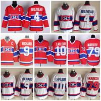 Wholesale Hockey Jerseys 79 - Montreal Canadiens Throwback Jerseys Ice Hockey 4 Jean Beliveau Jersey Retro Red White 10 Guy Lafleur 79 Andrei Markov 9 Maurice Richard