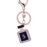 Wholesale Gifts Novelty Keys - 10pcs Creative Rhinestone perfume bottle Keychain Novelty Fashion gold plated alloy Key Chain Ring Bag Charm gift wholesale
