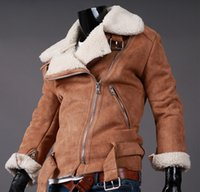 Wholesale Hot Mens Winter Leather Coats - Wholesale free shipping hot sell Fall-Shearling Winter Coat Faux Suede Short Motorcycle Leather Jacket Mens Sheepskin Coat