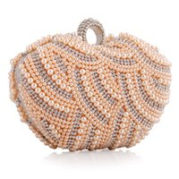 Wholesale Heart Shape Clutches - lady party bags 16cm heart shape beaded women bags purses pearl clutch evening bags with chain