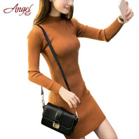 Wholesale Thick Long Sleeve Dresses - Wholesale-New Long Sweater Dress 2016 Autumn Winter Women Fashion Pullover Jumper Sexy Turtleneck Package Hip Dress Basic Knitted Sweater