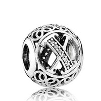 Wholesale Sterling Silver X Necklace - 925 Sterling Silver Letter X Charms Bead with Cz Fit European Style Jewelry Bracelets Necklaces & Pendant NO-X
