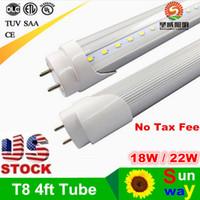 Wholesale free energy saving light bulbs - Free Shipping 4FT LED Tube Bar Lights T8 1200mm Tubes Bulbs Super Bright 22W LED Flourescent Bulb Light AC110V 220V 240V Tube Lamp