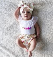 Wholesale Lace Headbands White - Hot 2016 Infant Baby Girls Summer Princess Sets Kids Girl Lace Cotton Tops With Floral Short PP Pants With Bow Headbands Children's Outfits