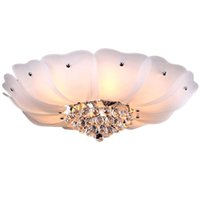 lâmpada de lótus venda por atacado-Cristal romântico Lótus Sala Luminária de Teto Luminárias de Teto Quarto de Vidro Clássico Quarto Princesa Luz de Teto