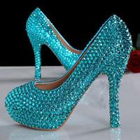 güzel gelincikler topuklu toptan satış-Gelin Kadın Giydirme Ayakkabı Nedime Ayakkabı Mavi Güzel Yüksek Topuklar Lüks İnci Rhinestone Ayakkabı Gelinlik Ayakkabıları