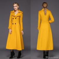 ingrosso giacca gialla delle signore-Moda donna giallo lungo cappotti invernali per donna Slim Fit misto lana Giacca donna caldo Parka doppio petto maniche lunghe soprabito economico