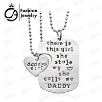 Wholesale Wholesale Personalized Girls Necklace - Wholesale-Personalized Handstamped Daddy Daughter Necklace There is girl she calls me daddy father's day Gift Jewelry 20Set Lot LN1079D